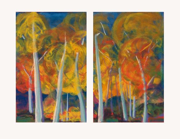 promenade sous des arbres en feu by Barbara Danser